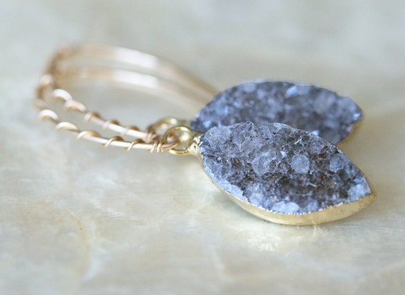 Druzy Earrings, Light Grey Druzy Earrings. Drusy Earrings, Geode Earrings, Small Druzy Earrings, Sparkly Earrings, Crystal Earrings