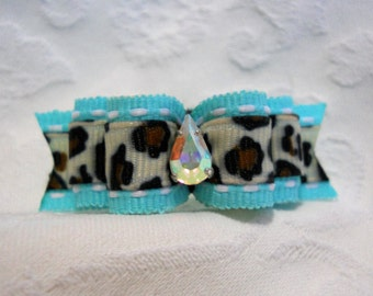 "DOG BOW-  5/8"" Aqua Snow Leopard DL Dog Bow"