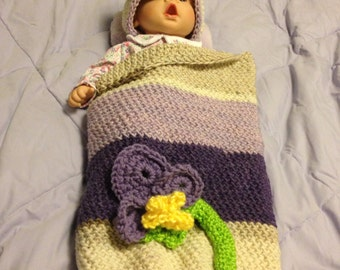 Baby Cocoon and Matching Hat Crochet Photo Opp Set in Pansy.