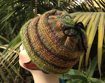 Hand Knit Ski Hat Green Beanie