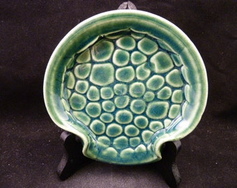 Wheel Works Pottery - Spoon Rest - Green Pebbles