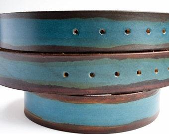 3rd anniversary gift - vegetable tanned leather belt -  blue leather belt - interchangeable belt - Undertow Snap Belt - leather snap  belt -