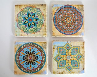 Travertine Tile Coaster Set  Orient