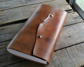 Rustic Large Leather Sketchbook, Brown Leather Journal With Snap Closure, Leather Wedding Guest Book, Leather Travel Journal, Art Journal