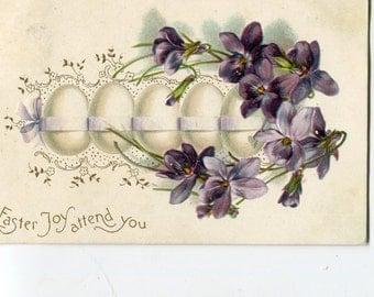 Easter Greetings Row of Easter Eggs  Embossed Vintage  Postcard   - Carte postale , Easter postcard, vintage Easter