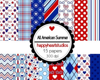 Digital Scrapbook  AllAmericanSummer-INSTANT DOWNLOAD