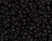 20 Grams Japanese Miyuki 15/0 Seed Beads - Black Matte - 1.5mm (15-401F)