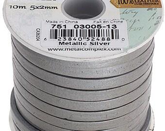 One Foot Flat Leather Cord - Metallic Silver 5x2mm (513)