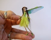 ooak poseable miniature itsy bitsy TINY fairy green ( # 49 ) polymer clay art doll by DinkyDarlings elf pixie faery
