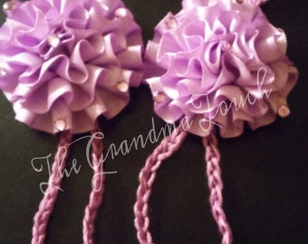 Made to order purple barefoot sandals with flower.