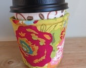 Handmade Coffee Cozy or Sleeve in Red and Pink Roses, Coffee Sleeve, Cup Sleeve