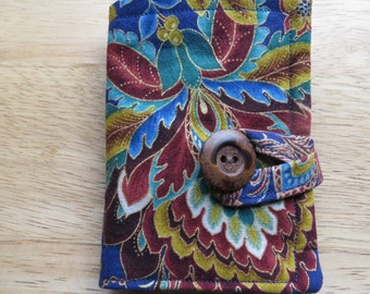 Tea Wallet in Rust, Green, Gold, Blue, and Brown Flowers and Leaves, Tea Bag Holder