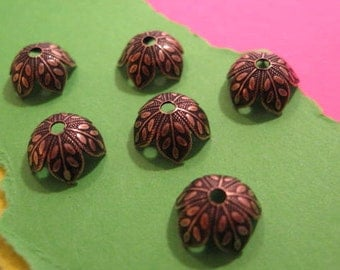 8mm Etched Leaf Bead Caps in Antique Copper by Nunn Design - 6 Count