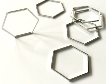 10 pcs charm in hexagon shape deco 34x39x1.5 mm brass plated in steel color
