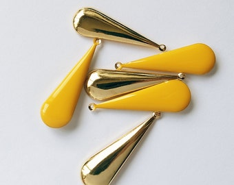 12 yellow epoxy poly resin drop bead on gold color base long drop 40x12mm large