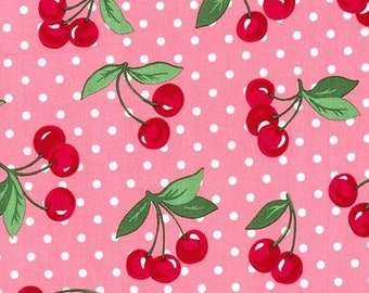 FAT QUARTER- Cherry Dot Bloom Pink Fabric By Michael Miller CX6561-BLOM-D