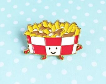 Poutine Enamel Pin - cute cartoon fries gravy cheese canada souvenir lapel