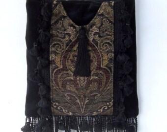 Totally Boho Black Velvet Bag  Tapestry Fringe Tassels Hippy Bag Renaisance Bag