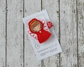Red, White and Gold Angel Felt Hair Clip - BRUNETTE - A cute holiday felt hair bow - Winter hair clippies - Christmas felt hair clips