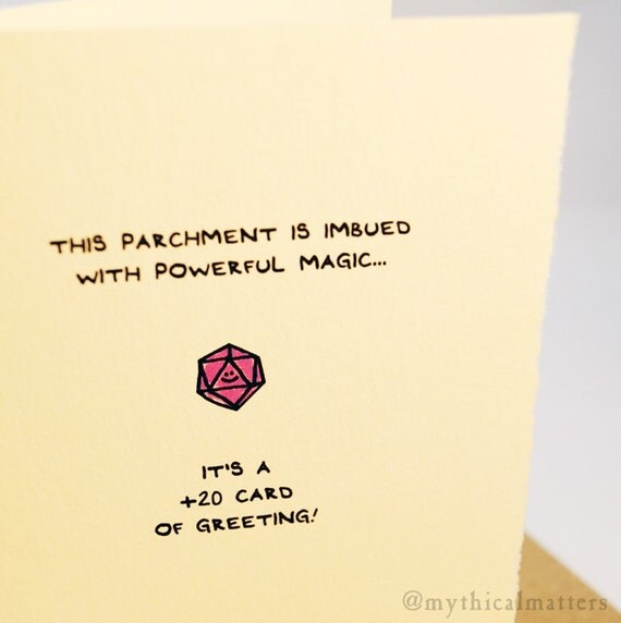 This parchment is imbued with powerful magic... It's a +20 card of greeting! greeting card cute adorable recycled made in Canada stationery