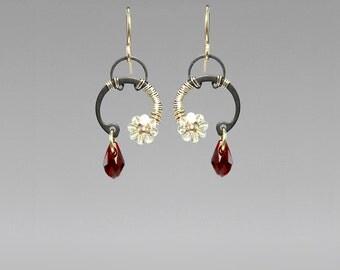 Red Swarovski Crystal Industrial Earrings, Siam Swarovski Crystals, Crystal Ab Swarovski, Statement Earrings, Bridal Jewelry, Hestia II v7