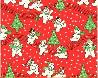 FABRIC STORYBOOK CHRISTMAS Snowman Christmas Carols on Red   We combine shipping