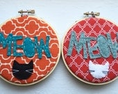 Meow Felt Adorn Embroidery Hoop. Select ONE Design.
