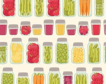 Mason Jars on Cream ~ Vegetables Canning fabric ~ Farm Girl by October Afternoon for Riley Blake ~ by the yard