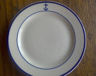 Vintage U.S. Navy Anchor Plate, 7 Available Blue and White, Military Mess Hall Salad Plate Wardroom Officer Nautical Design Gift for Him