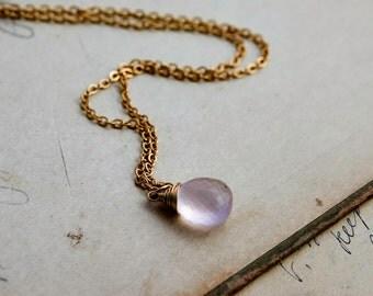 Rose Quartz Necklace, Rose Quartz, Blush Pink, Gold Necklace, Gemstone Pendant, Pale Pink, Pastel Pink, 14K gold filled, PoleStar