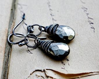 SALE Pyrite Earrings, Dangle Earrings, Fools Gold, Slate Gray, Wire Wrapped, Pyrite Jewelry, Drop Earrings, Sterling Silver, PoleStar