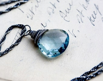 Gemstone Necklace, Pendant Necklace, Blue Quartz, Blue Gemstone, Crystal Necklace, Crystal Jewelry, Sterling Silver, PoleStar, Sky Blue