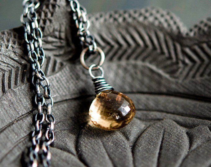 Champagne Quartz, Quartz Pendant, Pendant Necklace, Crystal Necklace, Gemstone Necklace, Sterling Silver, Taupe Quartz, PoleStar, Beige