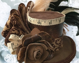 Repurposed Brown Leather Small Top Hat—Ready to ship