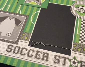 Soccer Premade Scrapbook Layout, Customizable Jersey Number Scrapbook Page, Single Soccer Scrapbook Page, Childrens Soccer Layout Page