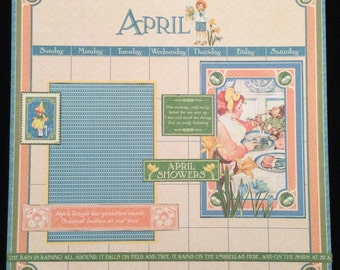 April Calendar Page, Premade Scrapbook Page, Graphic 45 Children's Hour Layout, 12x12 Scrapbook Layout, April Showers, Springtime Page