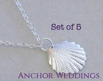 Bridesmaid Gift Set of 5, Silver Bridesmaid Bracelet, Seashell Bracelet, Beach Wedding Jewelry, Bridesmaid Jewelry, Bridal Party Gift PB215