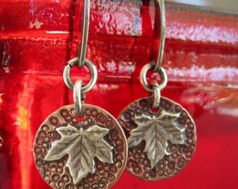 Canadian Maple leaf copper and silver disc dangle earrings - who doesn't love maple syrup