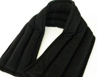 Long Neck Wrap, Microwave Heating Pad, Rice Heat Pack, Gift for Him, Gift for Dad, Moist Heat Therapy for Neck, black