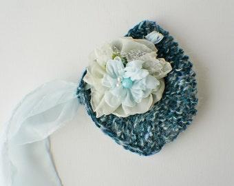 Flower Bonnet, Baby Hat, Floral Bonnet, Knit Baby Bonnet, Newborn Photo Prop, Baby Photo Prop Newborn Baby Girl Hat, Baby Hat, Knit Baby Hat