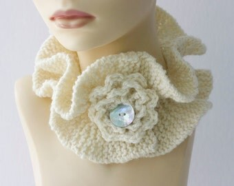 Hand Knit Scarf, Winter Accessories, Custom Choose Color,  Neck Warmer Flower, Ruffled Scarf , Neckwarmer, Cowl, Gift for Her