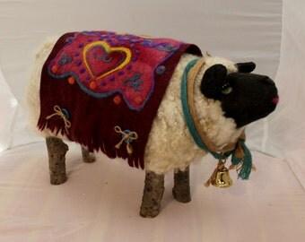 Sheep, Large Standing Needle Felted Sheep, White Needle Felted Sheep