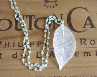 Silver Leaf Necklace with Green Prehnite Chain