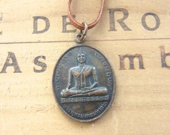 Vintage Buddha Buddhist Medal Necklace on Leather Cord