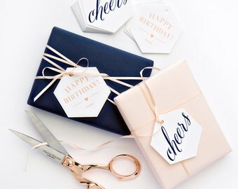 Boxed Cheers and Birthday Letterpress Gift Tags in Navy and Salmon