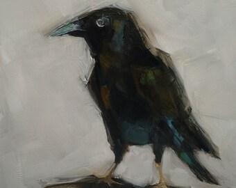 ORIGINAL Crow Raven Black Bird 6x6 oil on panel Colette Davis