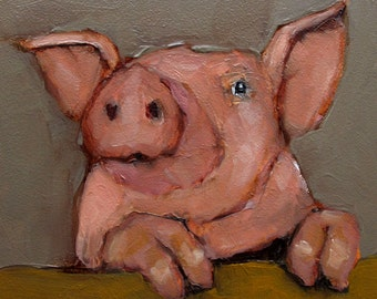 PIG Pretty in Pink  Art Giclee print from my original oil painting
