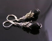 Black Crystal Earrings, Black and Silver Earrings, Crystal Dangle Earrings, Black Earrings, Also Available Non Pierced, E1940