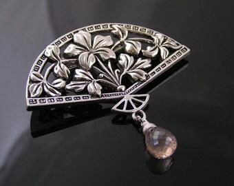 Large Pink Quartz Brooch, Gemstone Brooch, Gem Jewelry, Fan Brooch, Silver Brooch, Gemstone Pin, Gift Idea, Mystic Quartz, P265