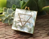 Earth Alchemy Elemental Symbol Etched Abalone Mother of Pearl and Brass Vintage Pill Boxes Trinket Case